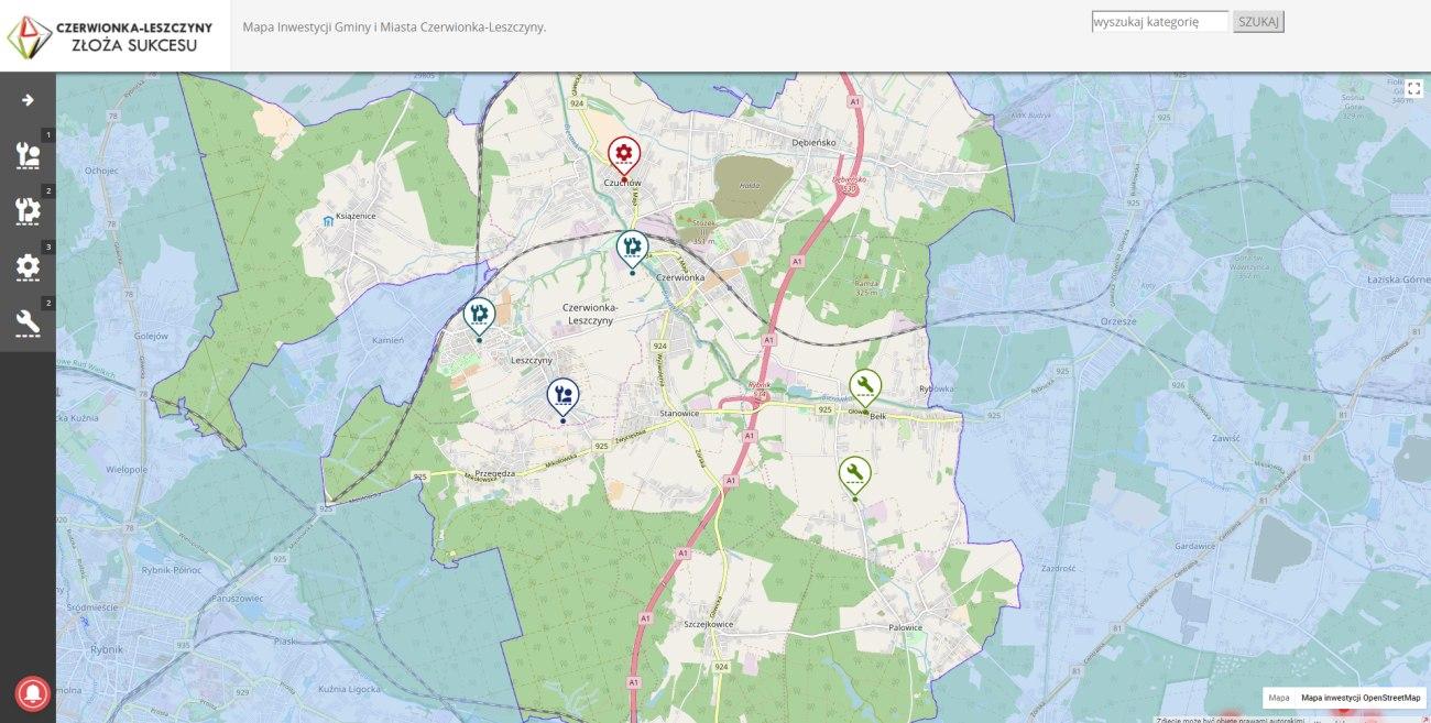 Mapa terenów inwestycyjnych Gminy i Miasta Czerwionka-Leszczyny