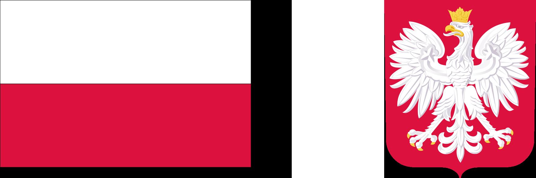 Logotypy zawierające barwy Rzeczypospolitej Polskiej i wizerunek godła Rzeczypospolitej Polskiej